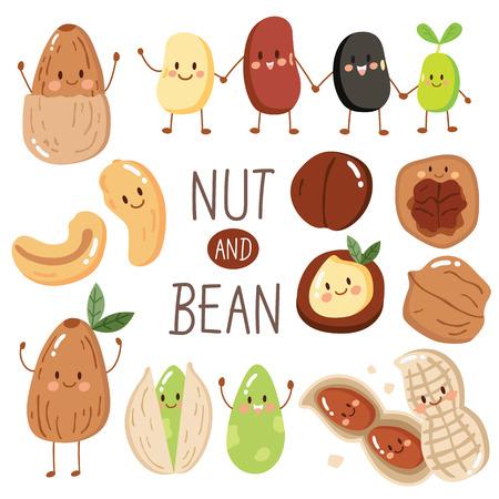 Set aus fröhlichen süßen Nuss und Bohnen, Mandeln, Erdnuss, Samen, Pistazie, Cashew, rote Bohnen, schwarze Bohnen. Abbildung im Cartoon-Stil. Protein aus Bohne und Nuss Vektorgrafik