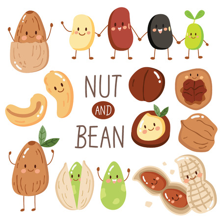 set of happy cute nut and bean, almond, peanut, seed, Pistachio, cashew, red bean, black bean. Illustration in cartoon style. protein from bean and nut