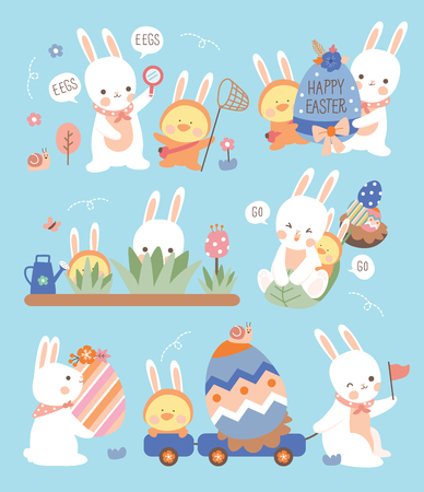 rabbit and friend hunting easter eggs. Ilustrace