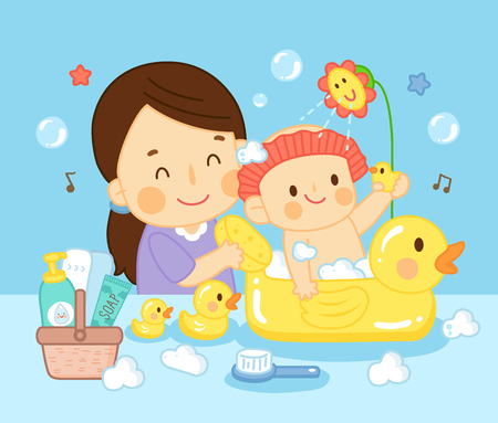 kid bathing with mom and playing toy in bathroom