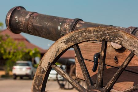 Thai Ancient artillery in Kanchanaburi Thailand.