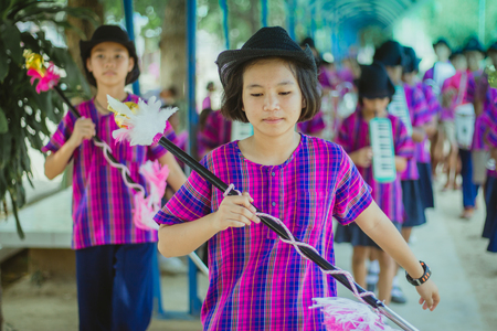 KANCHANABURI THAILAND - FEBRUARY 20 : Unidentified students practice the marching band on february 20,2018 at Wat Krang Thong School in Kanchanaburi, Thailand Editorial