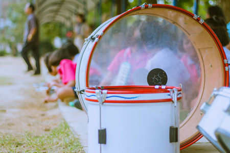 Primary Students practice the marching band. Stock Photo