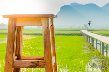 View of resting place for farmer on rice terrace, Kanchanaburi, Thailand.