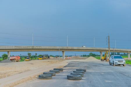 Before sunset at Overpass Construction for motorway Kanchanaburi, Thailand