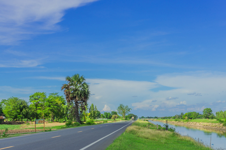 The scenery in the evening of beautiful road to Kanchanaburi, Thailand