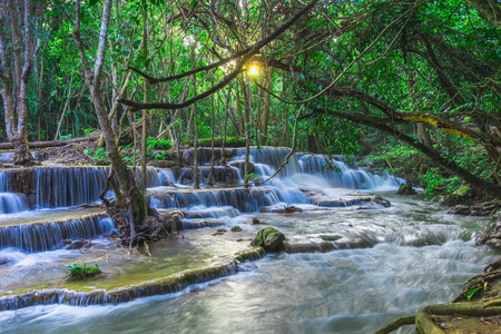Beautiful natural of Huay Mae Khamin waterfall, Kanchanaburi Province, Thailand