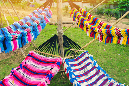 Colorful of handmade hammock.  Pattern Background, these handmade nets are comfortable for outdoor relaxing