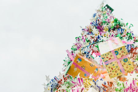 Colorful tinsel and gift decoration for a  Christmas tree and a happy new year Stock Photo