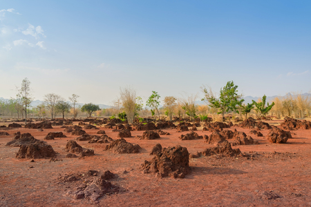 Scenery of Red ground in iron ore in Kanchanaburi Thailand.