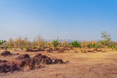 Scenery of Red ground in iron ore in Kanchanaburi Thailand.