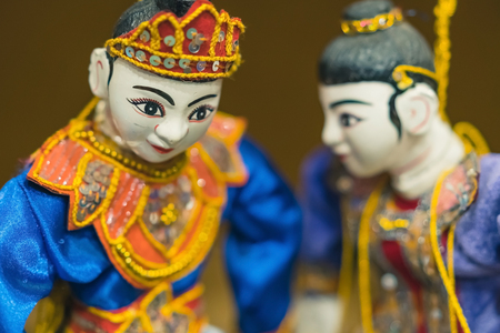 Traditional handicraft puppets for sale  in the ancient pagoda in Bagan, Myanmar Archivio Fotografico