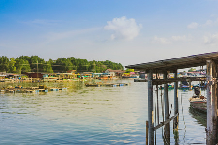 Unseen in Thailand. Scenery of Fishing village (The No-Land Village) at Bang Chan, Khlung, Chanthaburi, Thailand. Stock Photo