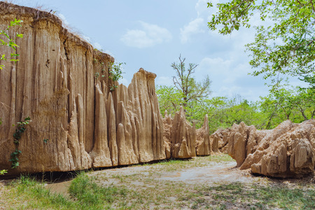 Beautiful Scenery of Water flows through the ground have erosion and collapse of the soil  into a  natural layer at Pong Yub,  Ratchaburi,Thailand Reklamní fotografie