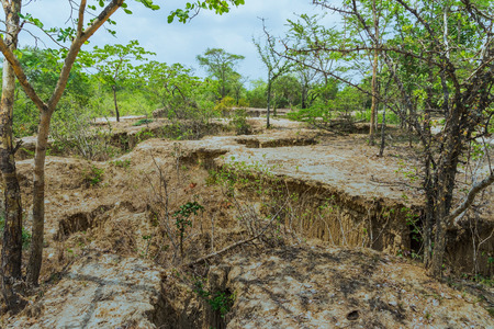 Beautiful Scenery of Water flows through the ground have erosion and collapse of the soil  into a  natural layer at Pong Yub,  Ratchaburi,Thailand Imagens
