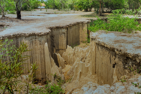 Beautiful Scenery of Water flows through the ground have erosion and collapse of the soil  into a  natural layer at Pong Yub,  Ratchaburi,Thailand Stockfoto - 122781202