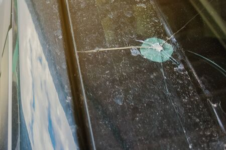 Front view of broken windshield glass of car, Car accident concept