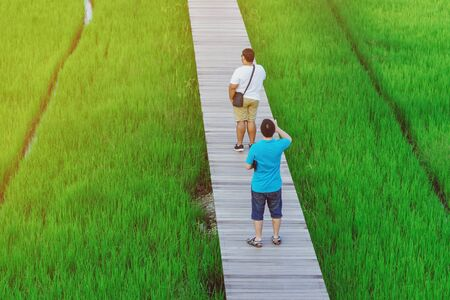 Back view of two male friends walk and take photography along the bamboo path that crossed through the fields in the evening before the sun set down on the horizon. Stockfoto