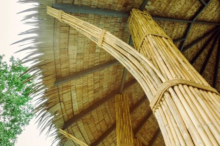 Many bamboo bindings are tied together with hemp ropes to be used as pole for resting cottage. Selective focus on hemp ropes. Imagens