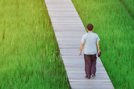 Back view of male walk and take photography along the bamboo path that crossed through the fields in the evening before the sun set down on the horizon.