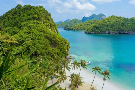 Beautiful scenery at view point of Ang Thong National Marine Park near Koh Samui in Gulf of Thailand, Surat Thani Province, Thailand. Stock Photo