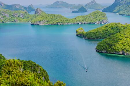 Beautiful scenery at view point of Ang Thong National Marine Park near Koh Samui in Gulf of Thailand, Surat Thani Province, Thailand.