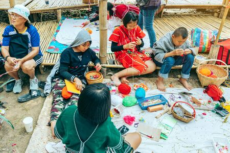 RATCHABURI THAILAND - JANUARY 19, 2020 : Handicrafts, homemade food, cotton clothes and more from local Karen villagers come to forming community and setting local market called Ohpoi Market in Ratchaburi Thailand.