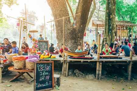 RATCHABURI THAILAND-JANUARY 19,2020 : Handicrafts, homemade food, cotton clothes and more from local Karen villagers come to forming community and setting local market called Ohpoi Market in Ratchaburi Thailand.