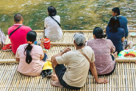 RATCHABURI THAILAND-JANUARY 19,2020 : Unidentified people come to visit, relax and swim in the stream at Ohpoi Market on january19, 2020 in Ratchaburi Thailand.