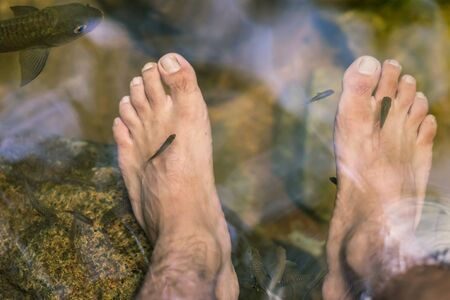 Young man having Antimony fish spa therapy and foot massage in waterfall.