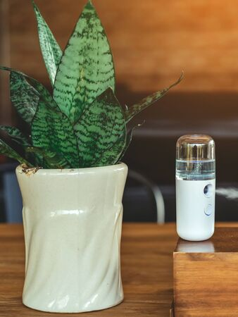 Alcohol nano mist sprayer for hand cleaning to prevent the spread of the coronavirus (Covid-19) placed on the table to serve customers before buying in the coffee shop. Modern health technology.