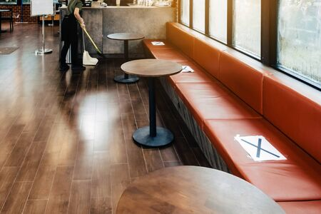 Alternative seating mark for social distance rules in the cafe distance for one seat from other people to protect from Corona Virus(COVID-19), social distancing for infection risk.New normal lifestyle