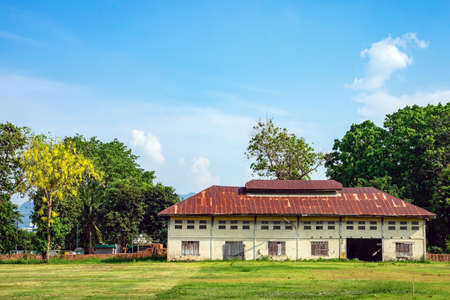 The old paper mill used to produce paper and banknotes during World War II, transformed into a new public attraction in Kanchanaburi, Thailand. (Cultural Economics with Tourism). Historical buildings.
