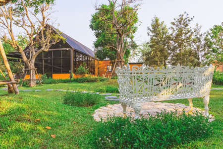 KANCHANABURI,THAILAND - FEBRUARY 19, 2021 : Beautiful garden decoration of Cafe Amazon coffee shop at PTT gas station. Cafe Amazon is a chain of Thai coffeehouses owned by PTT Public Company Limited.