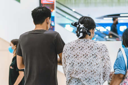 KANCHANABURI,THAILAND-JULY 11,2020:All people wear face mask must register their identity using QR code or registration book before shopping to prevent the spread of Corona virus(Covid-19) at Robinson
