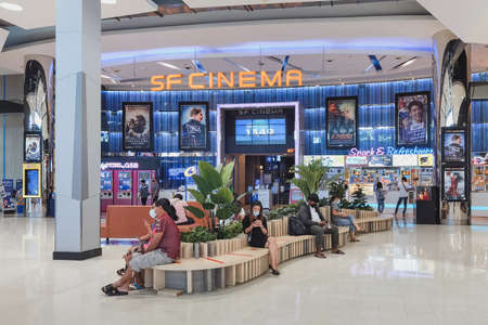 KANCHANABURI THAILAND - SEPTEMBER 26,2020 : Unidentified Thai people wear face mask waiting for the time to see the movie during the corona virus (Covid-19) pandemic in front of SF Cinema at Robinson.