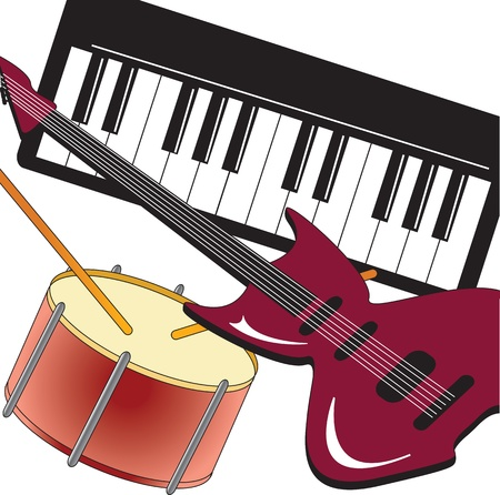 Guitar, piano and drum on white background  Vector