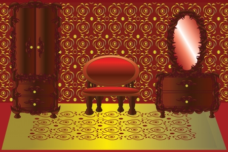 boudoir: Boudoir in golden and red colors  Illustration