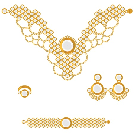 set in stone: golden set from necklace ring earrings and bracelet with white stone on white background  Illustration