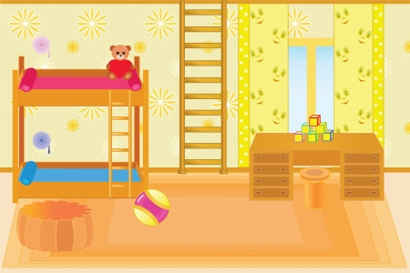 modern living room: beautiful room for children in happy family  Illustration