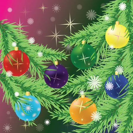 Colorful Christmas balls on Christmas tree branch  Vector