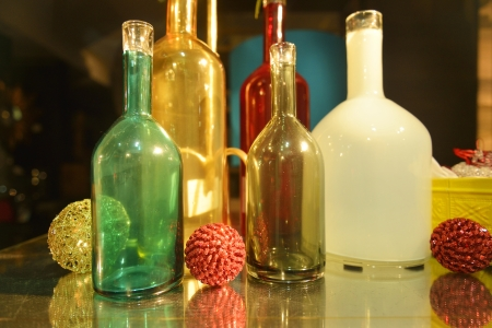 Empty color glass bottles photo