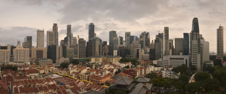 Aerial view on Chinatown and business center of Singapore photo