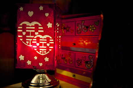 Double Happiness Lamp - Chinese Marriage Symbol  Twin Happiness  photo