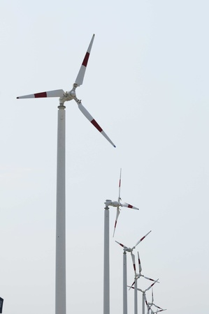 Group Wind Turbine at Bang Poo in thailand photo