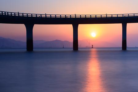 Xiamen Yanwu Bridge Sunset Scenery Around The Huandao Road Stock Photo