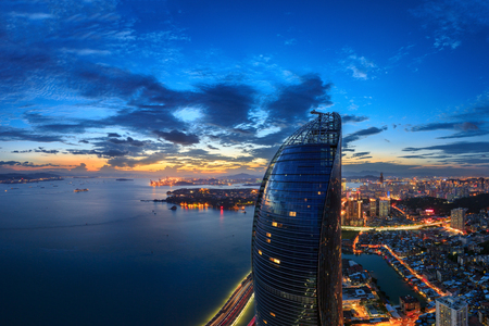 Xiamen Shimao Strait building Petronas Twin Towers scene Editorial