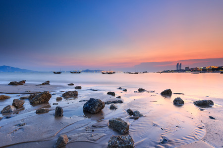 하문 Huandao 도로 바다 경관 일몰 스톡 콘텐츠