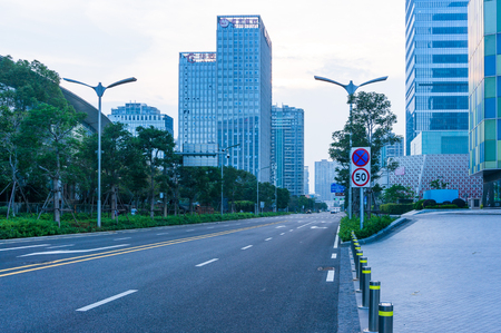 Xiamen, China - May 19, 2018: Road with Skyscraper Background at Xiamen International Financial Center