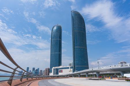 Xiamen, China - Apr 30, 2018: Xiamen Shimao Strait Building Petronas Twin Towers
